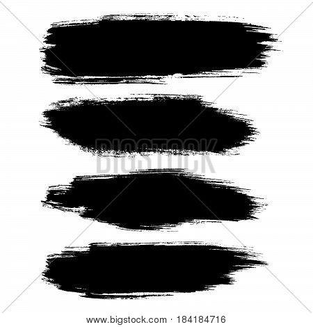 Vector hand painted set isolated grunge black paint brush splash. Ink grunge shapes.