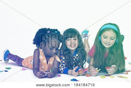 Little Children making Craft Paper