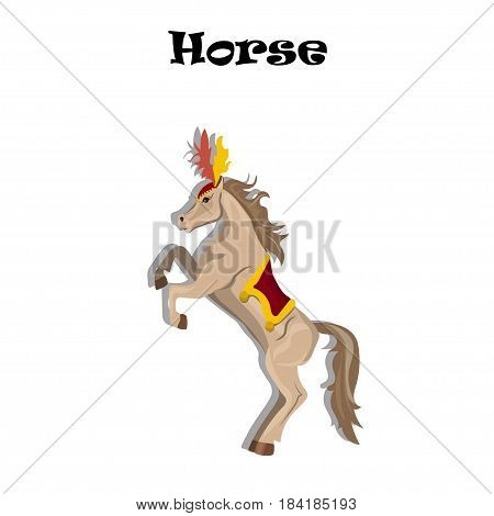 Very high quality original trendy vector illustration of circus or carnival horse with plume