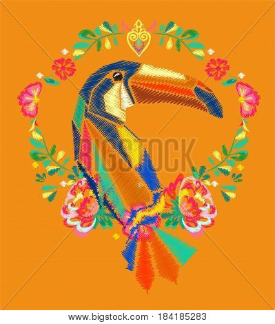 Beautiful embroidery tropical theme, embroidery toucan vector, tropical bird