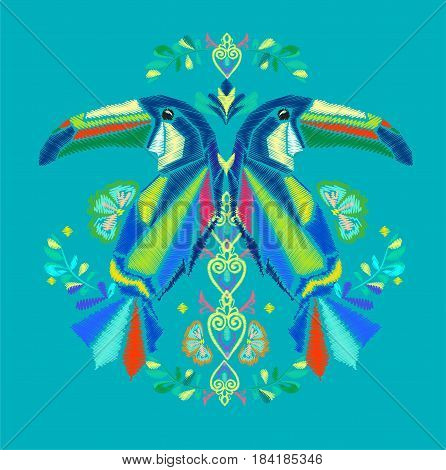 Beautiful embroidery tropical theme, embroidery of a toucan vector