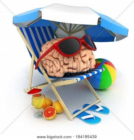 Beach bed and abstract brain rest. 3d illustration