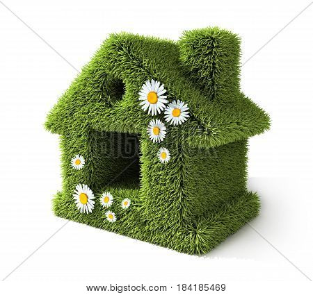 Abstract home and green grass. 3d illustration