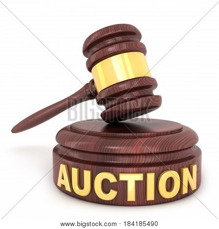 Auction wooden hammer on a white background (done in 3d)