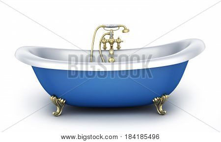 Bathroom and faucet on white background. 3d illustration