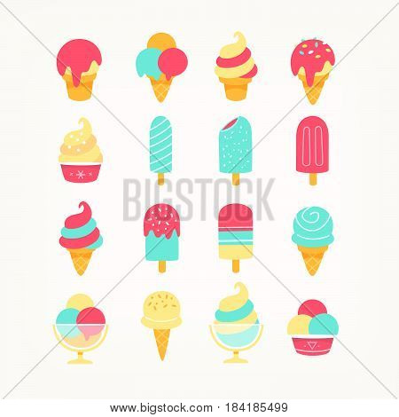 Set of delicious ice cream icons in vivid colors. Ice cones popsicles and ice cream in cups. Flat icons