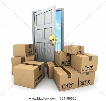 A lot of cardboard boxes for moving and door. 3d illustration