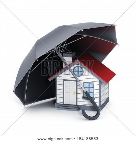Abstract house and umbrella. Symbol insurance. 3d illustration