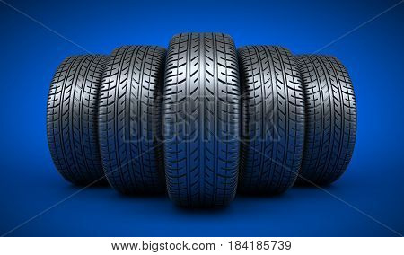 Row car tires on blue background. 3d illustration
