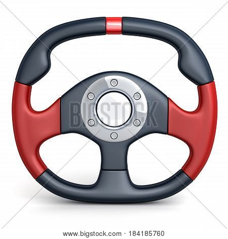 Steering wheel car on white background. 3d illustration