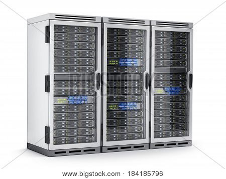 Three power modern server only isolated. 3d illustration