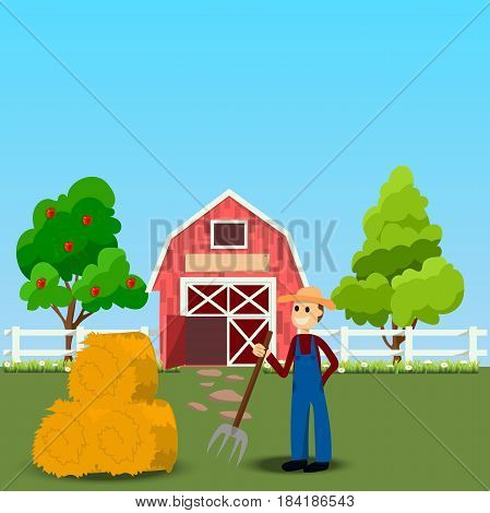 High quality original trendy vector illustration of farmer with hayfork near old Barn and green field with apple tree on background