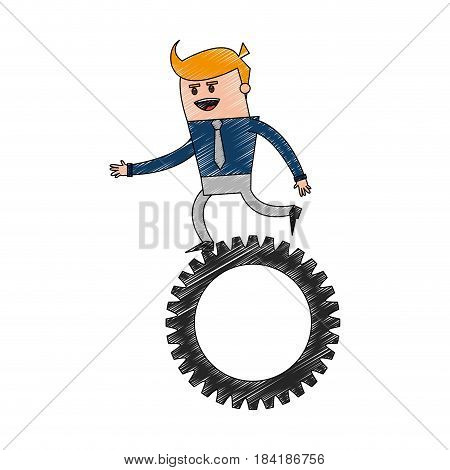 color pencil cartoon business man riding a gear vector illustration