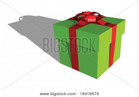 Vector green and red gift box