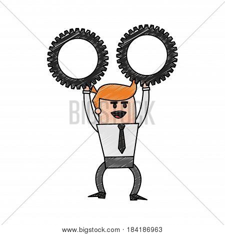 color pencil cartoon business man holding a gears vector illustration