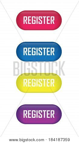 Set of glossy button register icons for your design.