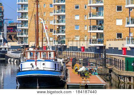 Boats Moored At Limehouse Basin Marina