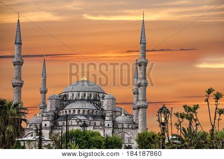 Istanbul, Turkey. Blue mosque Sultanahmet building architecture, sunset view