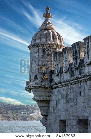 Belem tower building architecture in Lisbon, Portugal