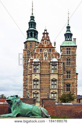Royal residence and museum - castle Rosenborg in Copenhagen, Denmark.