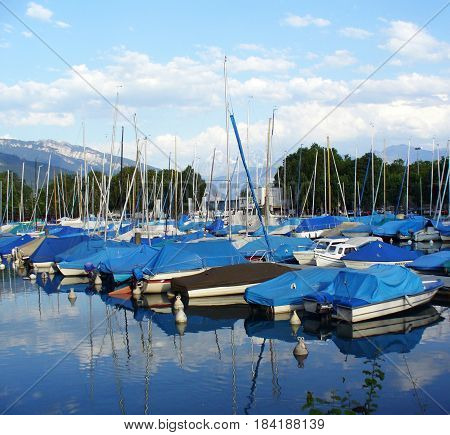 Yacht Marina and boating station in Locarno, Switzerland. Locarno is town on the south of Switzerland in Italian-speaking canton Tichino.