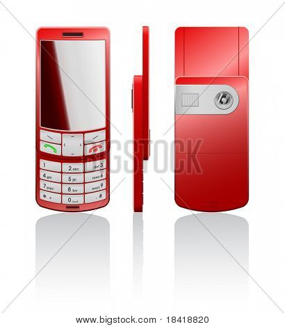 Vector photorealistic illustration of a red cellphone-slider with white buttons, open