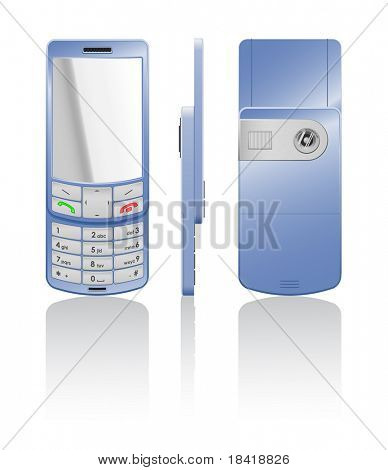 Vector photorealistic illustration of a blue cellphone-slider with white buttons, open