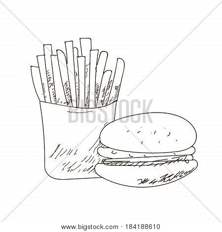 Set of fastfood hand-drawn VECTOR outline drawings on white background. Fries sandwich burger.