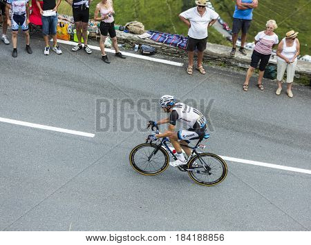 Col de PeyresourdeFrance- July 23 2014: The cyclist Albert Timmer (Team Giant Shimano ) climbing as a leader the road to Col de Peyresourde in Pyrenees Mountains during the stage 17 of Le Tour de France on 23 July 2014.