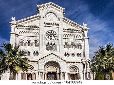 Monaco Cathedral church building architectural view, France