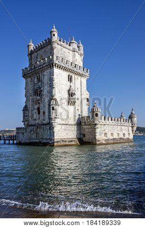 Belem tower sea view, Lisbon city architecture
