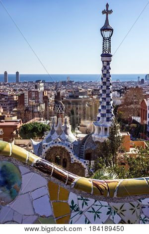 BARCELONA SPAIN - JAN 4 2017: Barcelona park Guell, Gaudi design