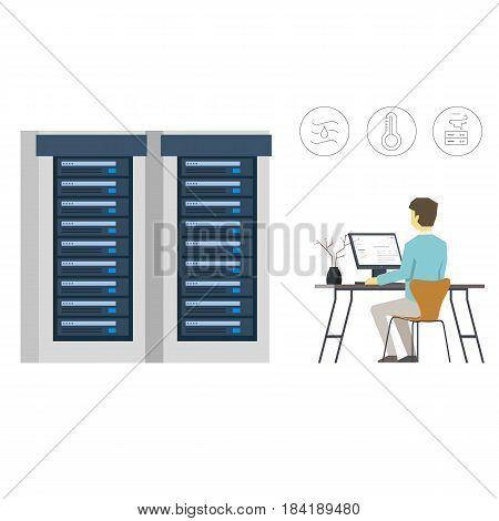 Vector Flat Illustration of Data Center Engineer Is Controlling Server Infrastructure
