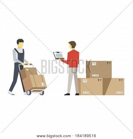 Vector Flat Illustration of Two Men with Boxes and Inventory Documents