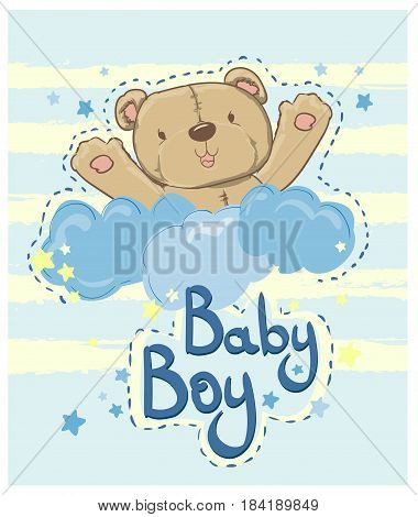 New Baby Card with cute bear, Baby shower vector illustration, bear on white cloud, beautiful children's illustration.