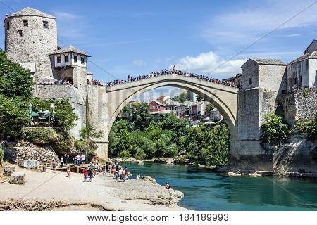 Mostar, Bosnia and Herzegovina - April 3, 2017: Mostar old bridge in Bosnia and Herzegovina