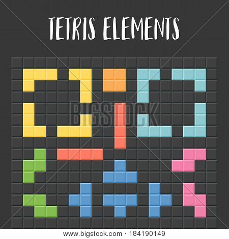 tetris pieces with black background, puzzle for game and application, flat design vector