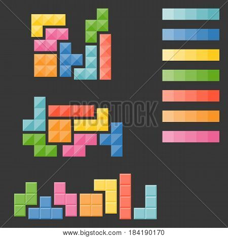 tetris pieces, puzzle in varie type and colour palate in flat design vector