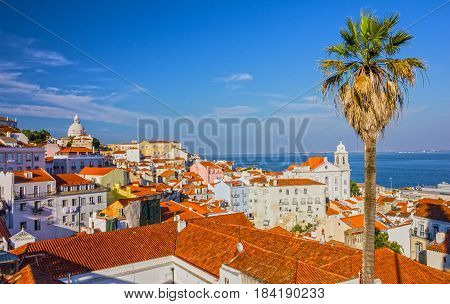 Lisboa cityscape, Pantheon cathedral Portugal building architecture