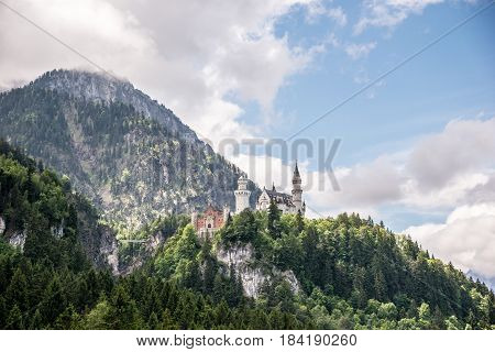 Neuschwanstein castle in Bavaria, Germany. Beautiful and famous landmark
