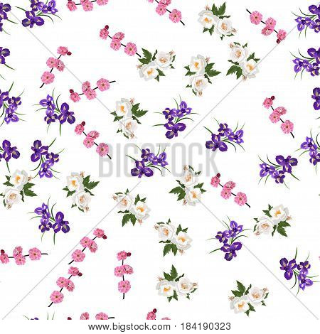 Very high quality original trendy realistic vector seamless pattern with rose bush or bouquet of roses, plum flower and iris flower. Spring or summer design