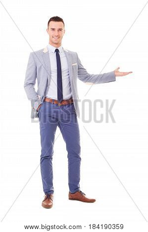 Happy Man In Blue Blazer Showing Empty Copyspace, Isolated On White Background
