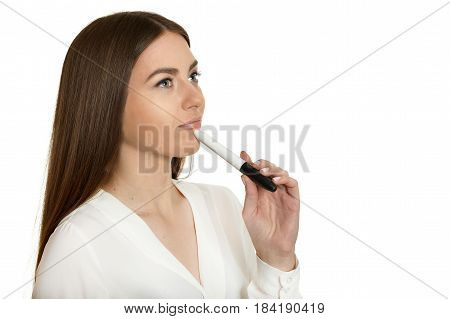 Beautiful woman in white blouse with marker pen on white background