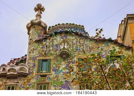 Barcelona, Spain - May 3, 2017: Famous house Casa Batllo, Gaudi