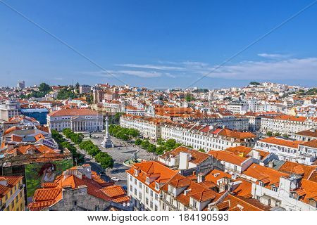 Lisbon, Portugal - May 1, 2017: Rossio square (Praca de Rossio), Portugal