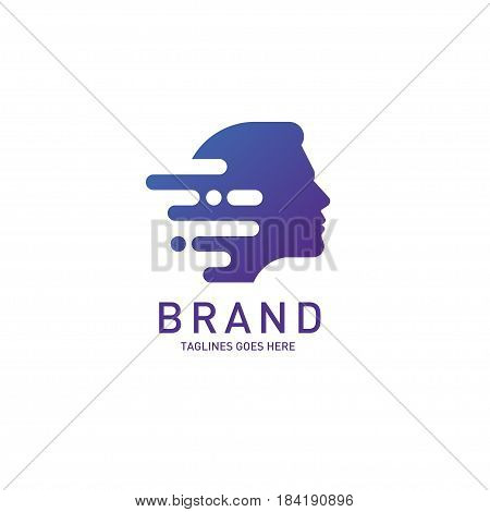 creative man head logo Brain, Creative mind, learning and design icon. Man head, people symbol, styles head vector