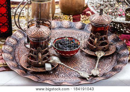 Turkish traditional tea glasses, table appoirtments, Turkey