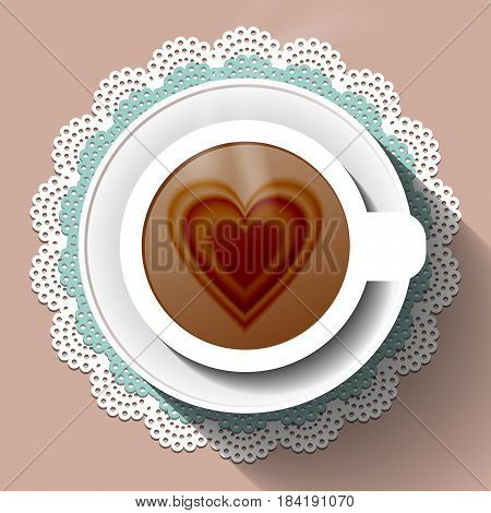 Cup of coffee on a lace paper napkin. Vector illustration