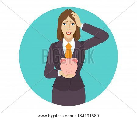 Businesswoman holding a piggy bank and grabbed his head. Portrait of businesswoman character in a flat style. Vector illustration.