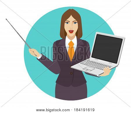 Businesswoman holding a pointer and laptop notebook. Portrait of businesswoman character in a flat style. Vector illustration.
